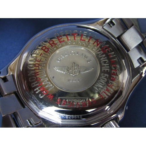 1028 - Mid sized Breitling 1884 Colt stainless steel gent's wristwatch, the textured black dial with lume b...