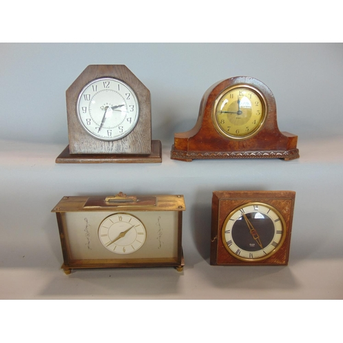 1179 - A mixed collection of vintage mantle clocks to include a Glen clock windup movement, an eight day sm...