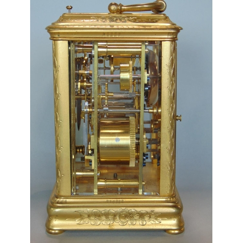 1178 - Good quality French gilt brass carriage clock, attributed to Joseph Soldano, the engine turned silve...