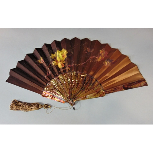 1228 - Mid 19th century lace leaf fan with Mother of Pearl sticks and decorative guards, length 18cm, toget...