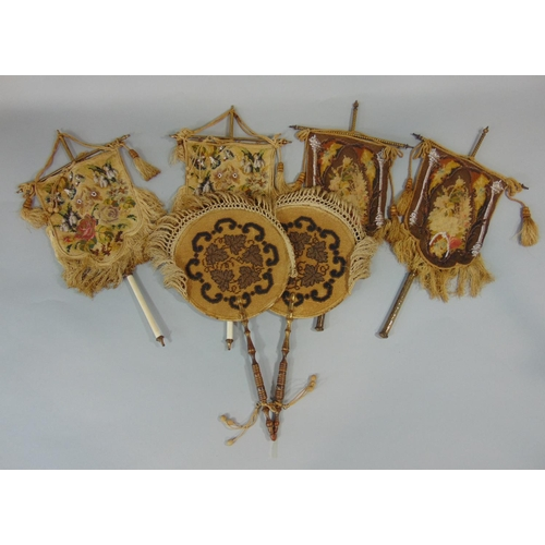 1229 - 3 pairs of embroidered and beaded face screens including a pair with circular screen, silk backed wi...