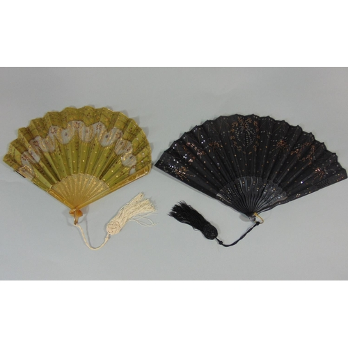 1227 - 2 early 20th Century french fans, the first with olive silk leaf cut away to reveal fine gauze, over...