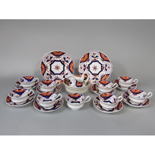 655 - A collection of 19th century Gaudy tea wares comprising milk jug, slop bowl, pair of cake plates, ni...