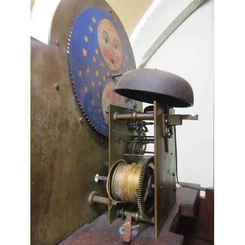 2053 - A Georgian mahogany longcase clock, the door with rosewood cross banding, the hood enclosing a 30cm ...