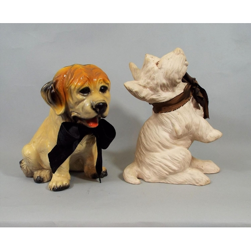 10 - Eight whimsical figures of dogs, one in the Art Deco style, further Chinese example, etc, 26 cm in h...