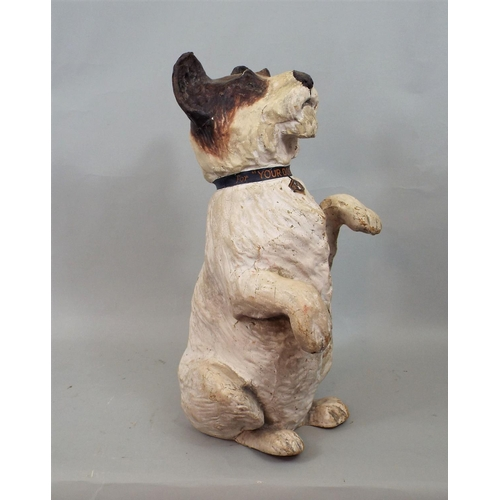 27 - A vintage paper mache model of a terrier standing on its hind legs with painted collar- Your dog and...