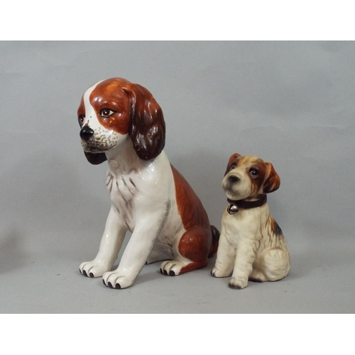 31 - Six ceramic figures of dogs, Poodle, Dachshund, Boxer, etc, 30 cm and smaller...