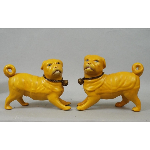 32 - Ceramic figure of a Pug dog and a pair of Chinese yellow ground Pugs, 70 cm and smaller...