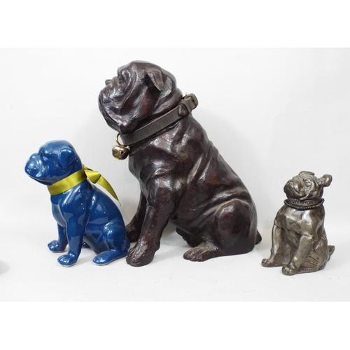 33 - Seven figures of Bulldogs in brass, bronze, ceramic, etc 28 cm in height and smaller