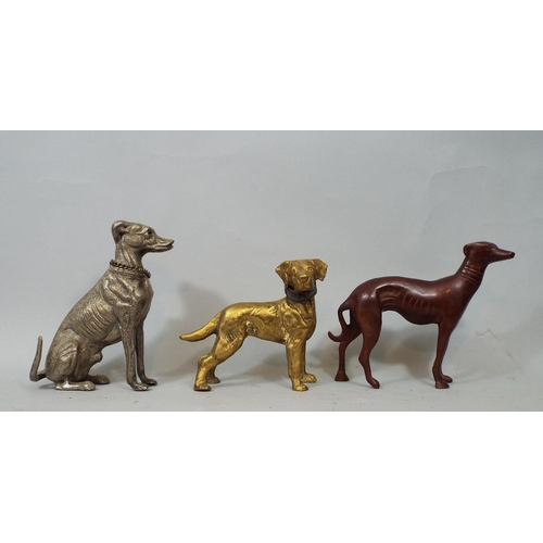 35 - Nine metal figures of dogs including Dachshund, Terriers, Labrador, Greyhound, etc, 18 cm and smalle...