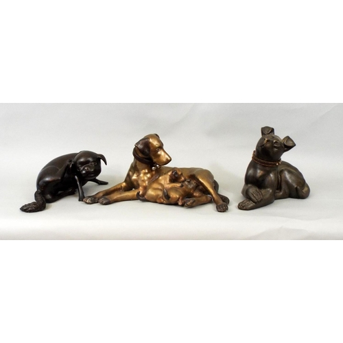 37 - Bronze figure of a Labrador suckling two pups, Chinese Pug and one other, 14 cm and smaller...