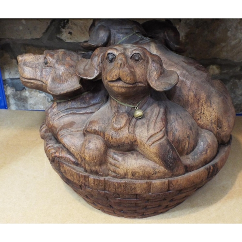 41 - Solid carved hardwood group, five puppies in a basket, 40 cm in height...
