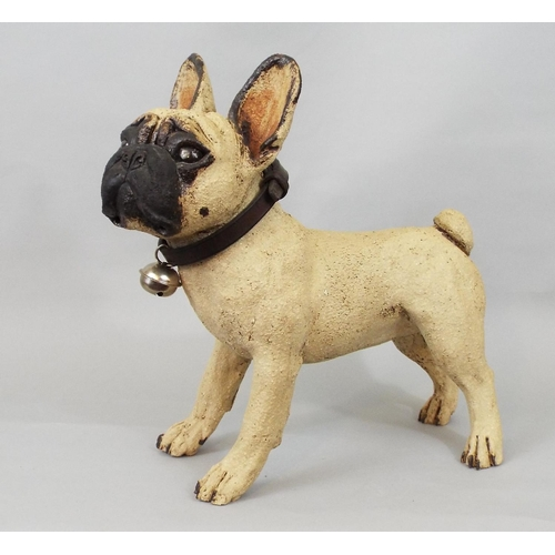 42 - Studio pottery model of a French Bulldog standing, 30 cm height...