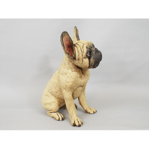 43 - Studio Pottery figure of a seated French Bulldog by Joanne Cooke, 33 cm in high...