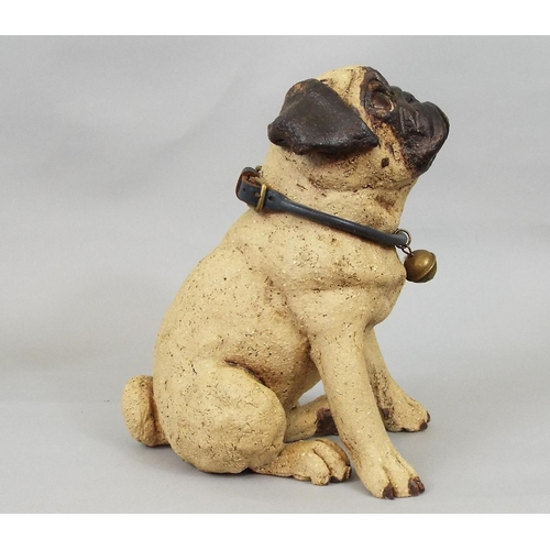 44 - Studio Pottery figure of a seated Pug by Joanne Cooke, 20 cm...