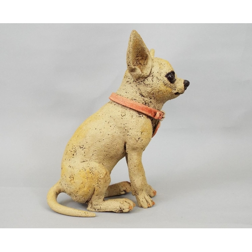 45 - Studio Pottery figure of a Chihuahua by Joanne Cooke, 22 cm...
