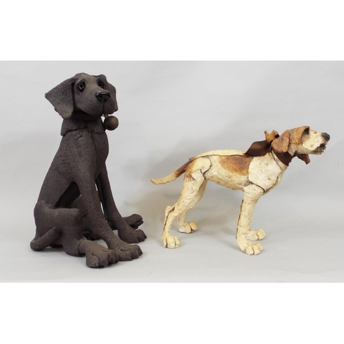 46 - Five various models of dogs including Rottweiler, Dachshund and other hound, max height 33cm...