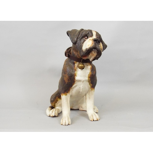 47 - A studio pottery figure of a seated Bulldog by Joanna Cooke, 30cm high...