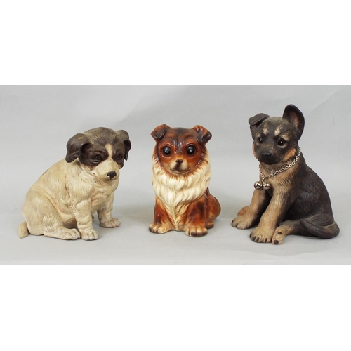 49 - Six models of dogs including a Dandie Dinmont, fox terrier and others, 27cm max...