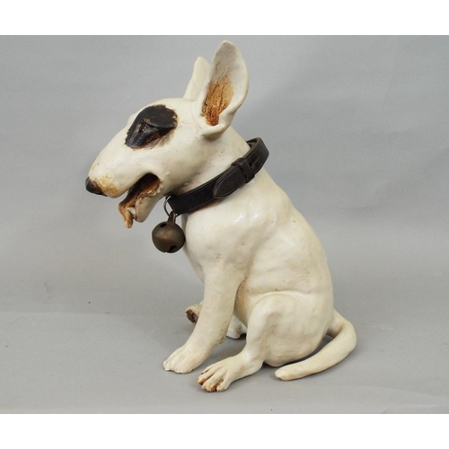 51 - A studio pottery figure of an English bull terrier by Joanna Cooke, 25cm high...