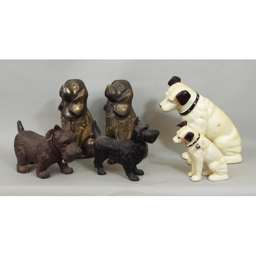 56 - Two cast metal figures of Nipper, two Indonesian dogs, etc (6) 24cm max...