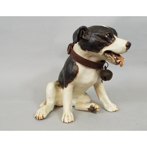 58 - A studio pottery figure of a Staffordshire bull terrier by Joanna Cooke, 20cm approx...
