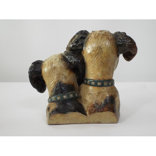 116 - A Lladro group of two terriers attributed to Francisco Catala, with naturalistic painted finish, 19c...
