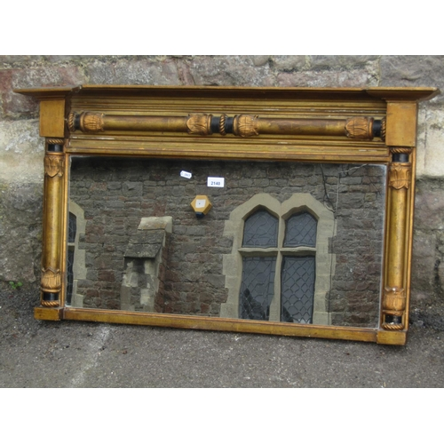 A late Regency/William IV gilt framed chimney glass with split column surround, moulded and foliate detail, 98 cm wide x 56 cm high
