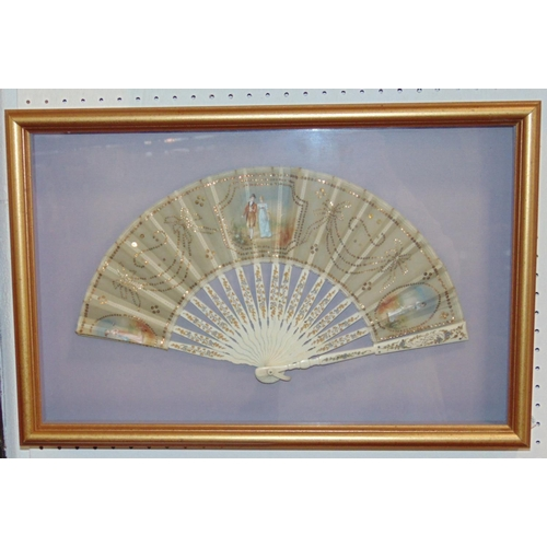 1507 - French fan mounted in presentation case with carved painted ivory sticks and guards and leaf decorat...