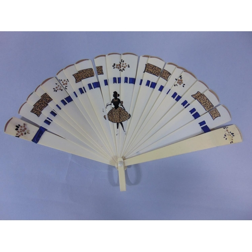 1510 - Collection of fans including two ivory brise fans, a carved Sorrento style fan with mirror, eight ot...
