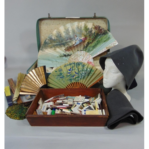1511 - Collection of fans to include one with painted silk leaf and mother of pearl sticks, a small fan wit...