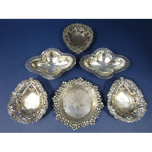Collection of silver and white metal trinket dishes to include a pair of lobed quatrefoil dishes by C & C, set of three late Victorian pierced dishes and one other unmarked example, 5.5 oz approx