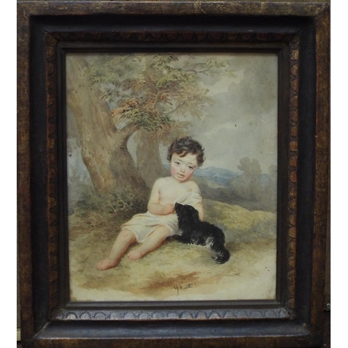 350 - G Ceruti? (19th century school) - Study of a child in landscape setting accompanied by a spaniel, wa...