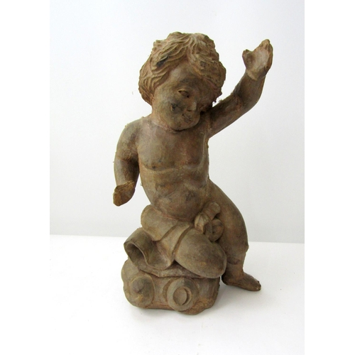 398 - Vintage carved timber figure of a young boy, arms outstretched.  43cm...