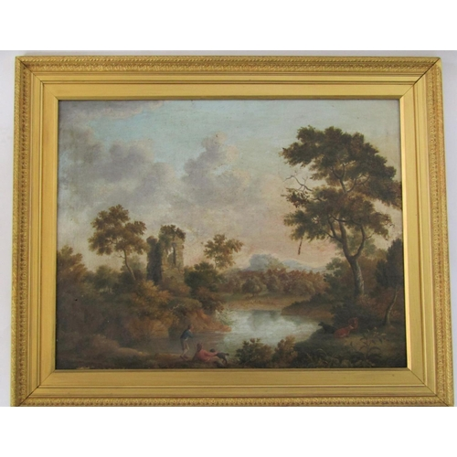 2723 - Ann Wetherill (British 18th century school) - A landscape with male figures and dog beside a lake, w...