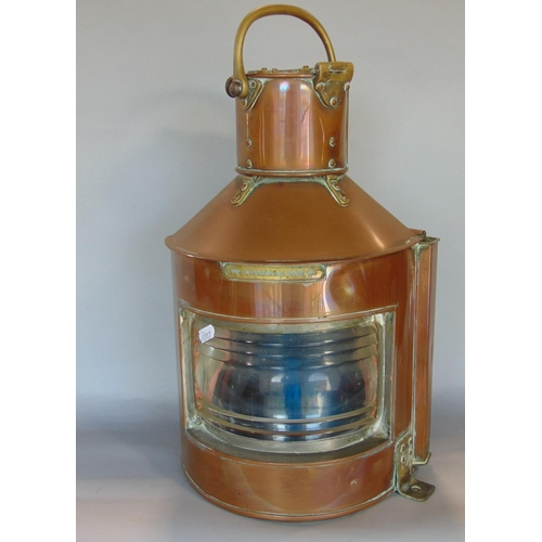 """Copper ships lantern with riveted brass fittings with plaque inscribed """"bow starboard"""" and patent number, 42 cm high"""