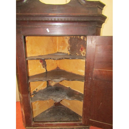 2528 - A Georgian oak hanging corner cupboard, the front elevation enclosed by a fielded panel door, set be...