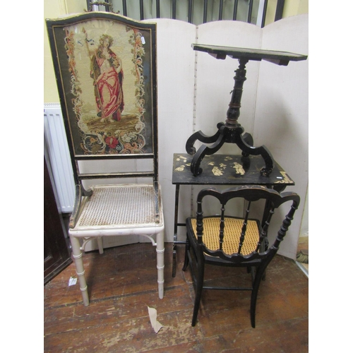 2529 - A small collection of furniture to include a 19th century firescreen in a black and gilt frame, with...