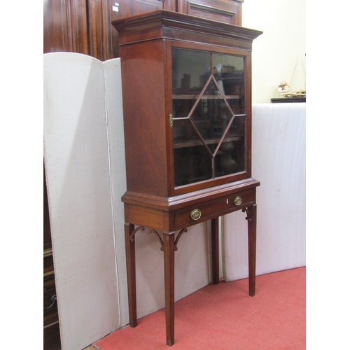 2662 - 19th century mahogany cabinet on stand, the cupboard with astragal glazed panelled door over a singl...
