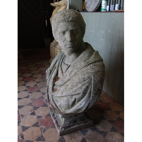 2095 - A good and large weathered composition stone two sectional head and shoulder bust of a Roman charact...