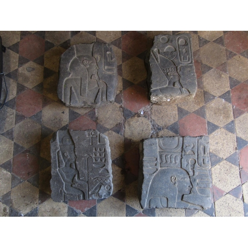 2097 - Four antique carved stone fragments/tablets with Egyptian hieroglyphics...