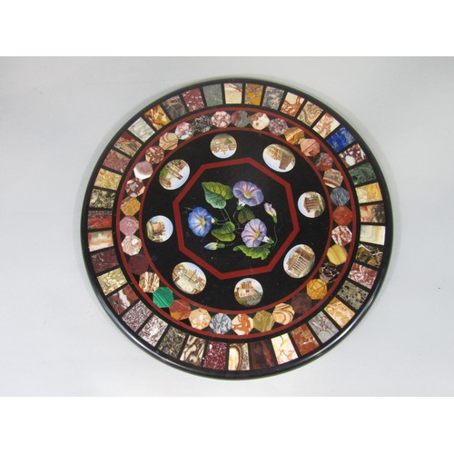 2663 - A fine quality 19th century petra dura and micro mosaic panel of circular form enclosing two concent...
