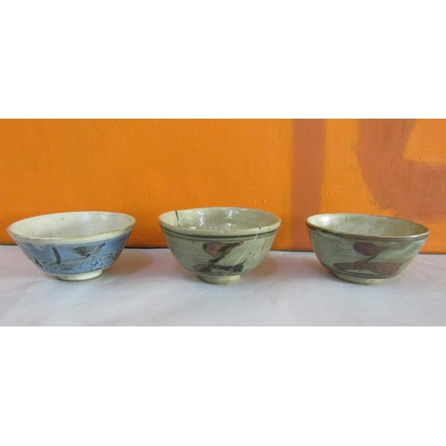 14 - Probably by Bernard Leach of St Ives Pottery - Four pedestal dishes together with a further lidded t...