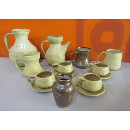 17 - The Friars of Aylesford stoneware studio pottery collection comprising part tea service, three tanka...