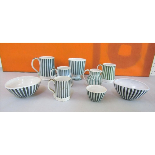 20 - Rye Design Team for Rye Pottery collection of stripe pottery comprising four mugs, two finger bowls,...