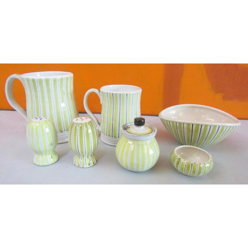 21 - Rye Design Team for Rye Pottery - Collection of striped pottery comprising two mugs, three piece cru...