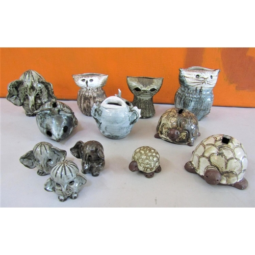 26 - Briglin Pottery - A collection of novelty animal studio pottery figures and money boxes, comprising ...