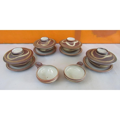 38 - Harry Davis & May for Crowan pottery - Four salt glaze lidded rice bowls on saucers with two further...