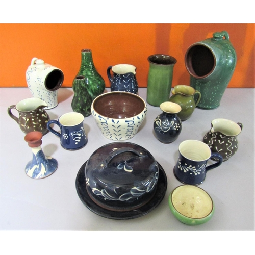 45 - Scofield & Wetheriggs of Penrith Pottery - Collection of studio pottery pieces with various colourfu...
