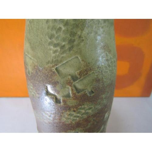 47 - Marianne De Trey - Celadon glaze studio pottery table lamp with interesting geometric incised decora...